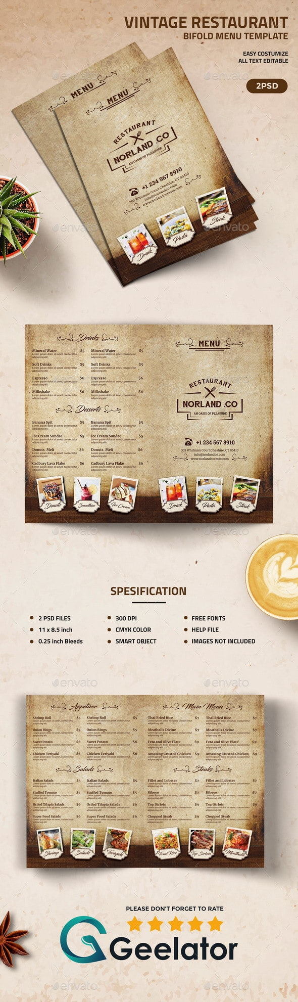 Vintage BiFold Restaurant Menu Template - Food Menus Print Templates