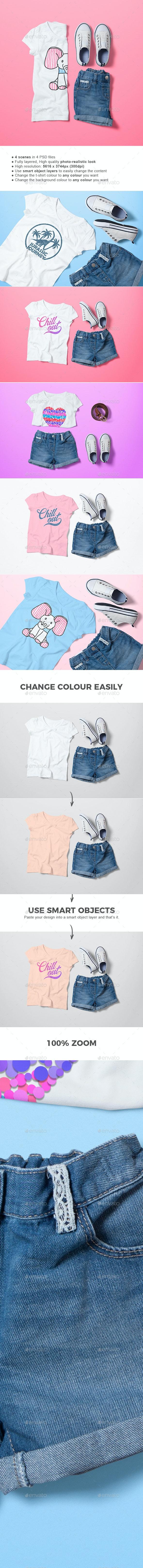 Crew Neck T-shirt Mock-up Girl's Version - T-shirts Apparel
