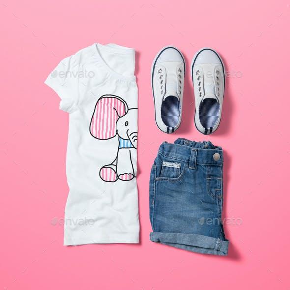 Crew Neck T-shirt Mock-up Girl's Version