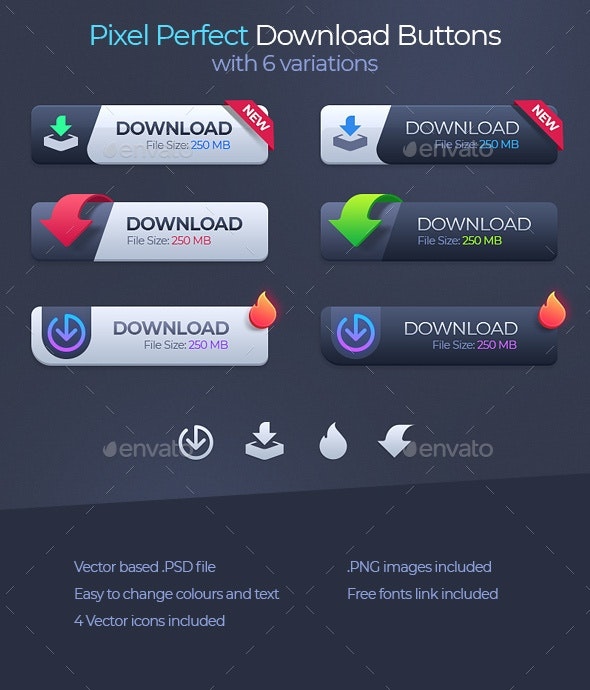 Pixel Perfect Download Buttons - Buttons Web Elements