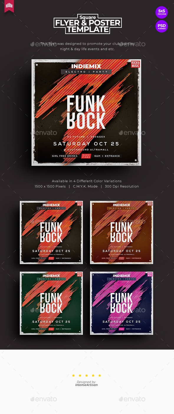 Funk Rock - Square Flyer - Clubs & Parties Events