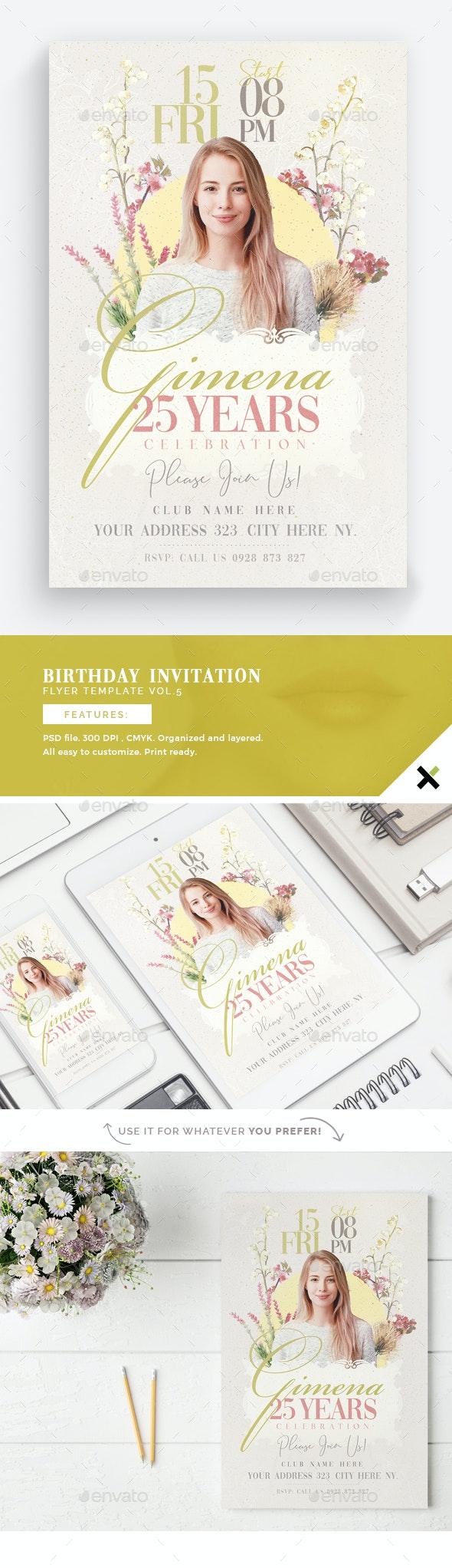 Birthday Invitation Vol.5 Flyer Template - Flyers Print Templates