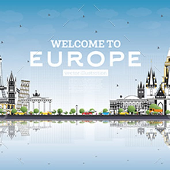 Welcome to Europe Skyline with Gray Buildings and Blue Sky