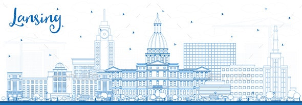 Outline Lansing Michigan City Skyline with Blue Buildings - Buildings Objects