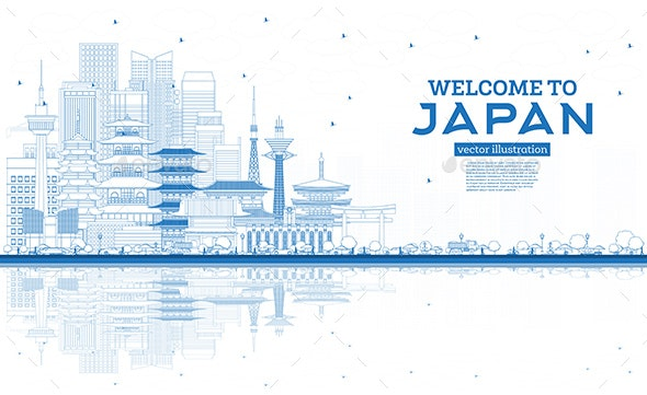 Outline Welcome to Japan Skyline with Blue Buildings and Reflections - Buildings Objects