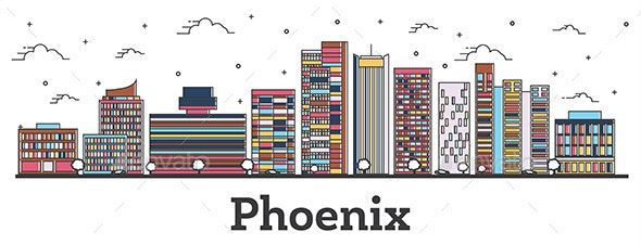 Outline Phoenix Arizona City Skyline with Color Buildings Isolated on White - Buildings Objects