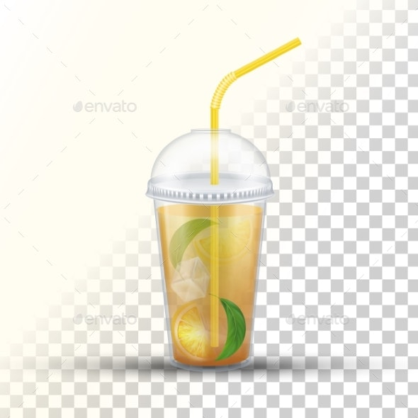 Ice Tea Plastic Takeaway Vector 3D Cup - Food Objects