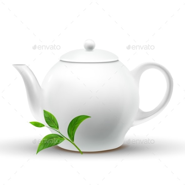 Ceramic White Teapot With Vector Green Tea Leaf - Food Objects