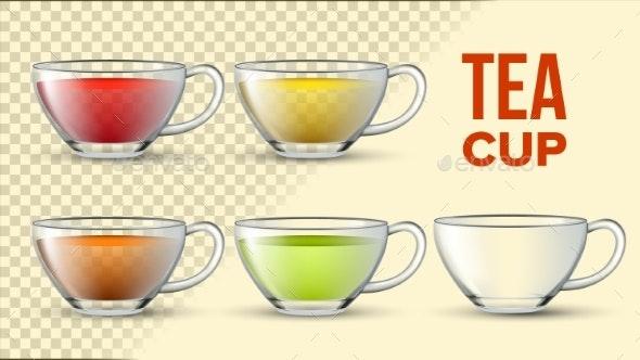 Tea Cups With Color Liquid Vector 3D Set - Food Objects