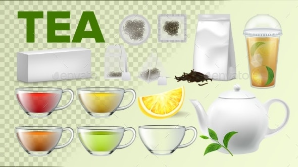 Tea Cups And Pot Kitchenware Vector Realistic Set - Food Objects