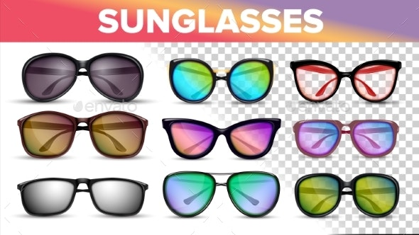 Sunglasses Various Styles and Types Vector Set - Man-made Objects Objects