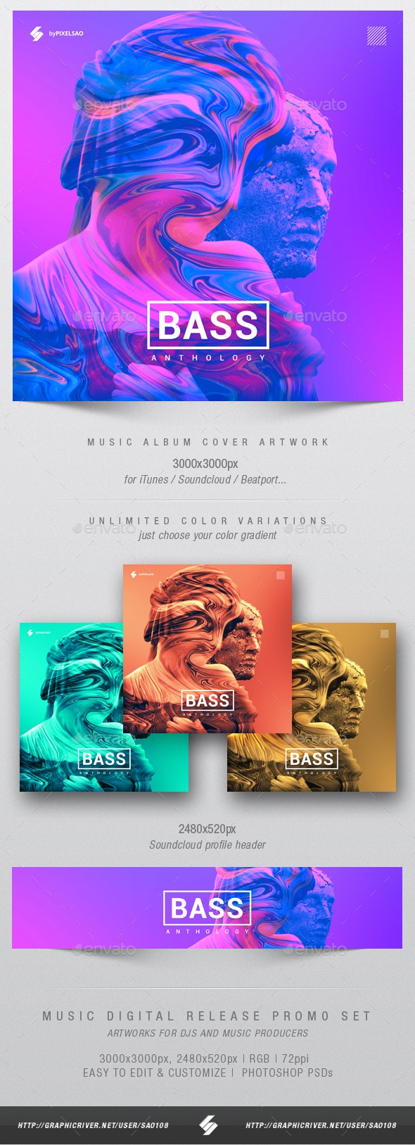 Bass Anthology - Music Album Cover Artwork Template - Miscellaneous Social Media