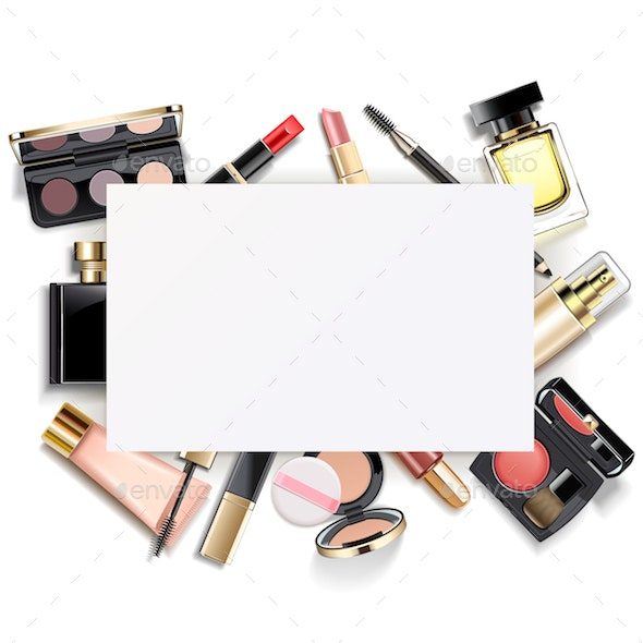 Vector Paper Card with Makeup - Retail Commercial / Shopping