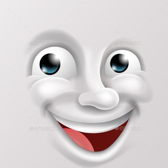 Happy Cartoon Emoticon Face
