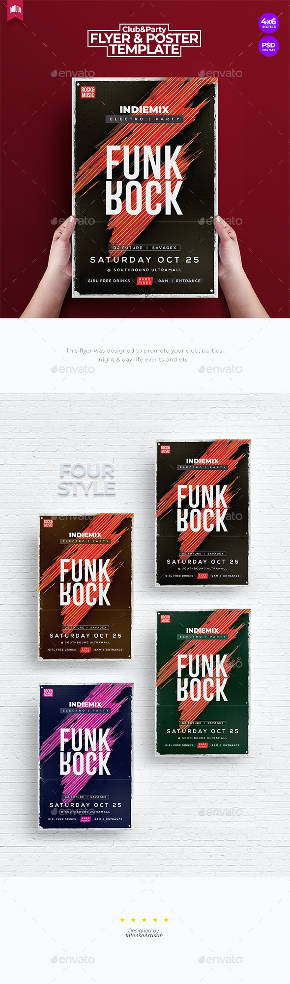 Funk Rock - Flyer Template - Clubs & Parties Events