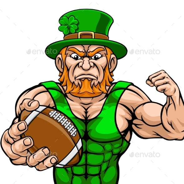 Leprechaun Holding Football Sports Mascot
