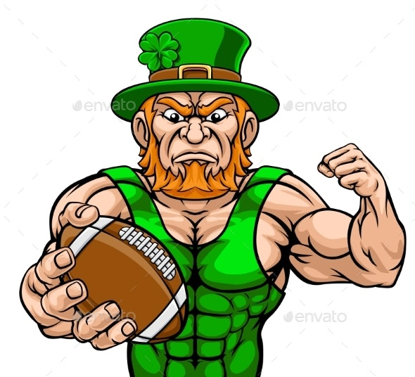 Leprechaun Holding Football Sports Mascot - Miscellaneous Characters