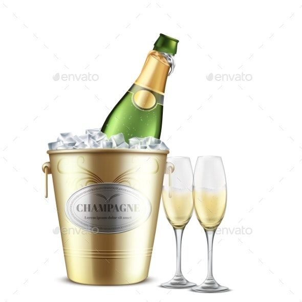 Opened Champagne Bottle in Bucket with Ice Vector - Food Objects
