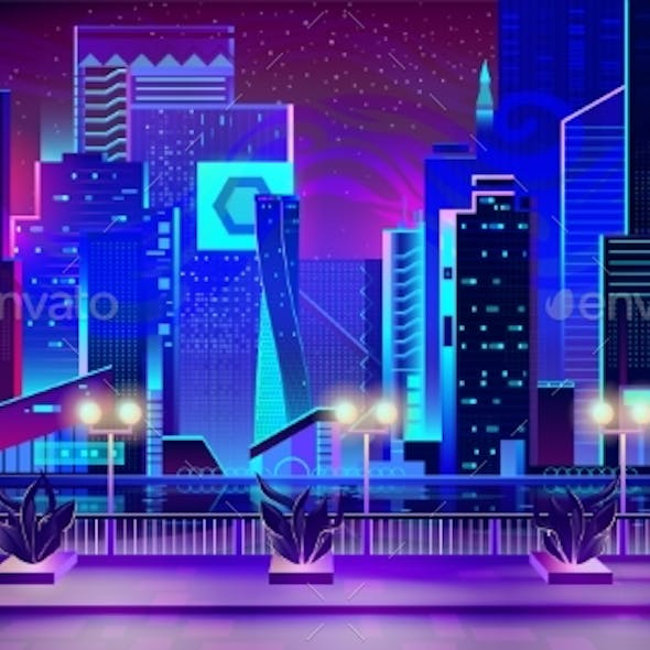 Night City with Neon Lights and Quay with Plants