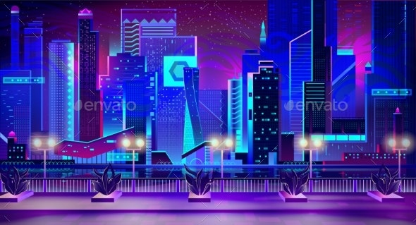 Night City with Neon Lights and Quay with Plants - Buildings Objects