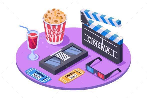 Isometric Equipment with Ticket, Pop Corn - Media Technology