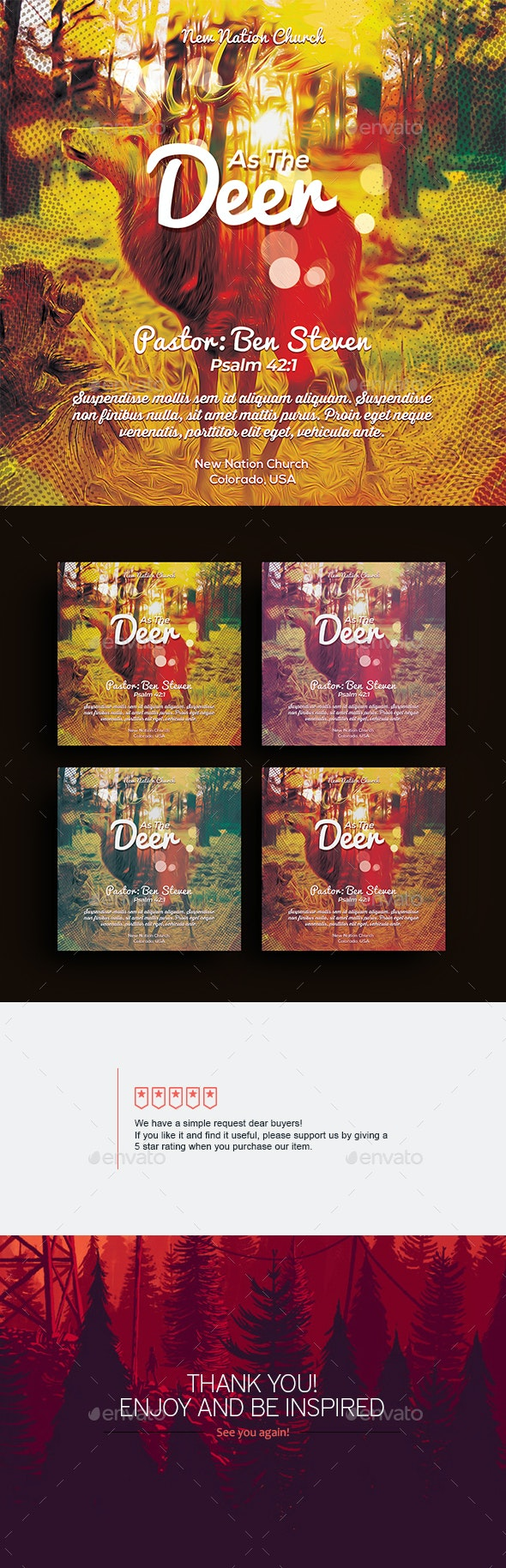 As The Deer - Square Flyer - Church Flyers