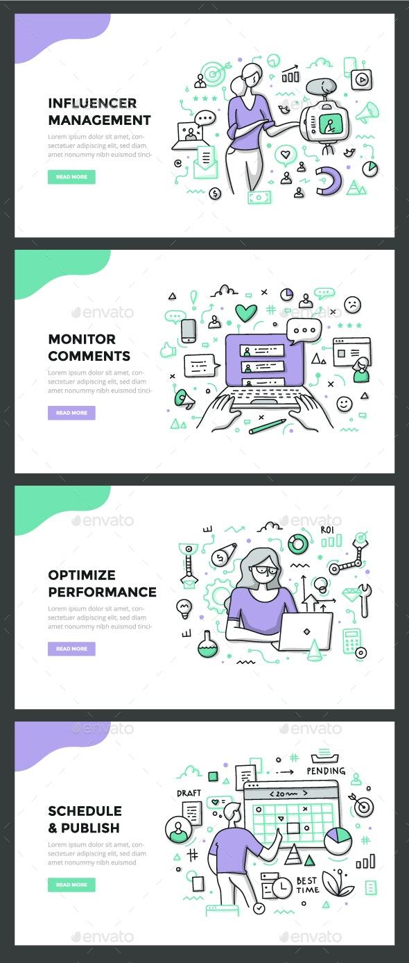 Social Media Management Color Line Concepts - Communications Technology