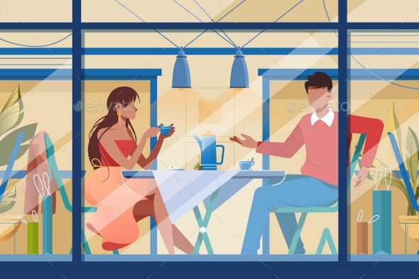 Flat Young Romantic Couple in Cafe on Date - Food Objects