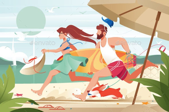 Flat Young Man with Surfboard and Girl Couple - Miscellaneous Vectors