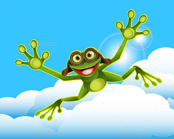 Stock Illustration Frog in the Clouds - Animals Characters