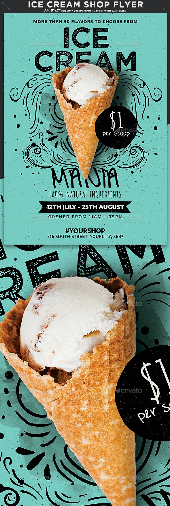 Ice Cream Shop Flyer - Commerce Flyers