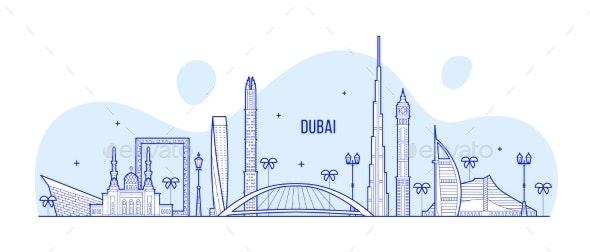 Dubai Skyline United Arab Emirates UAE City Vector - Buildings Objects