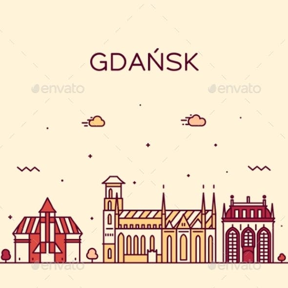 Gdansk Skyline Poland Big City Vector Linear Style