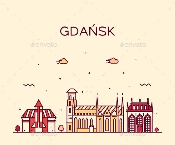 Gdansk Skyline Poland Big City Vector Linear Style - Buildings Objects