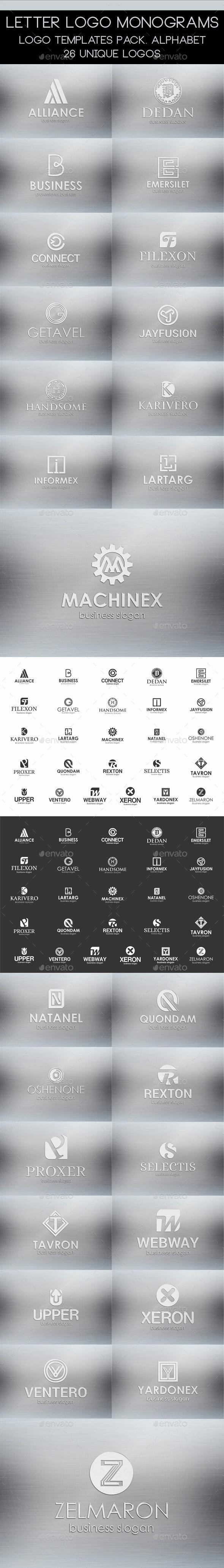 Logos | Letter Logo Monogrames Templates Pack - Badges & Stickers Web Elements