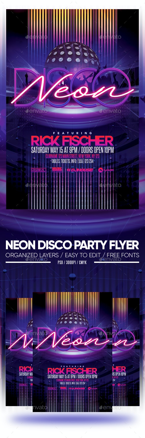 Neon Disco Party Flyer - Clubs & Parties Events