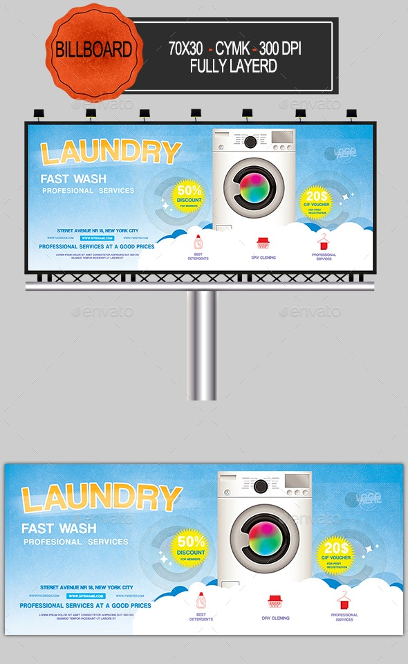Laundry Service Billboard - Signage Print Templates