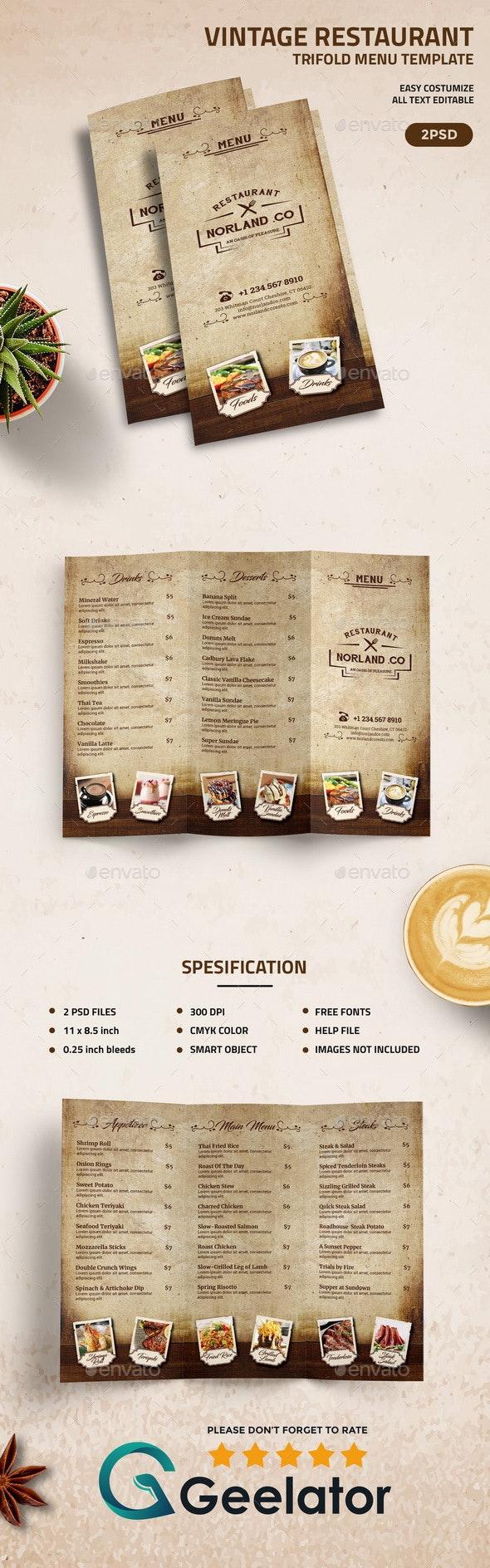 Vintage TriFold Restaurant Menu Template - Food Menus Print Templates