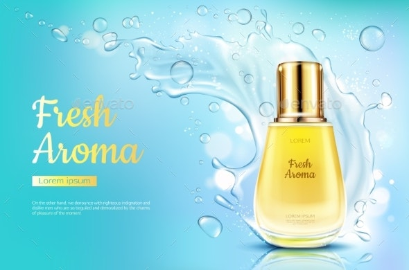 Perfume Fresh Aroma in Glass Bottle Water Splash - Man-made Objects Objects