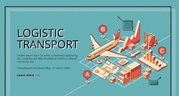 Logistic Transport Isometric Vector Web Banner - Concepts Business