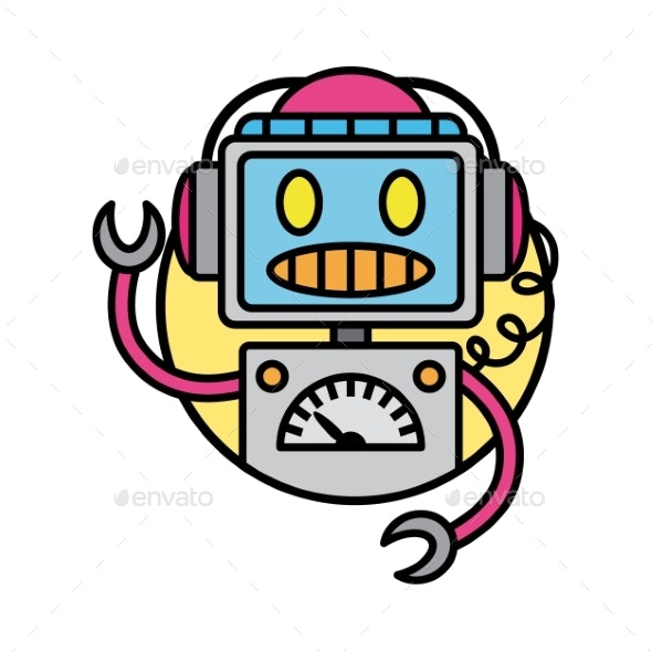 Round Robot Icon Line Style on White Background - Miscellaneous Vectors