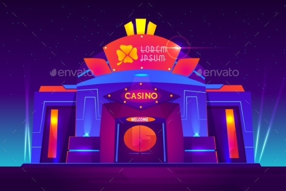 Casino Night Exterior with Neon Lights - Buildings Objects
