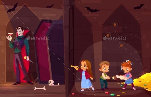 Children in Quest Escape Room Cartoon Vector - Concepts Business