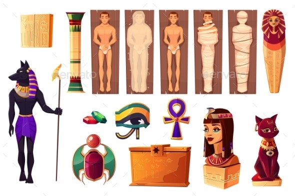 Egyptian Attributes of Culture and Religion Set - Miscellaneous Vectors