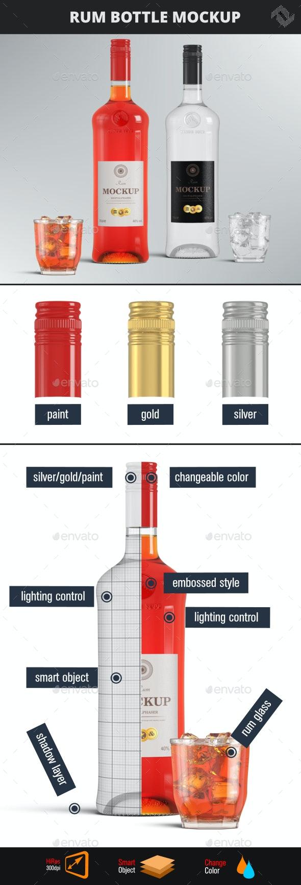 Rum Vodka Brandy Bottle Mockup - Food and Drink Packaging
