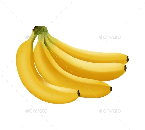 Realistic Vector Bananas - Food Objects