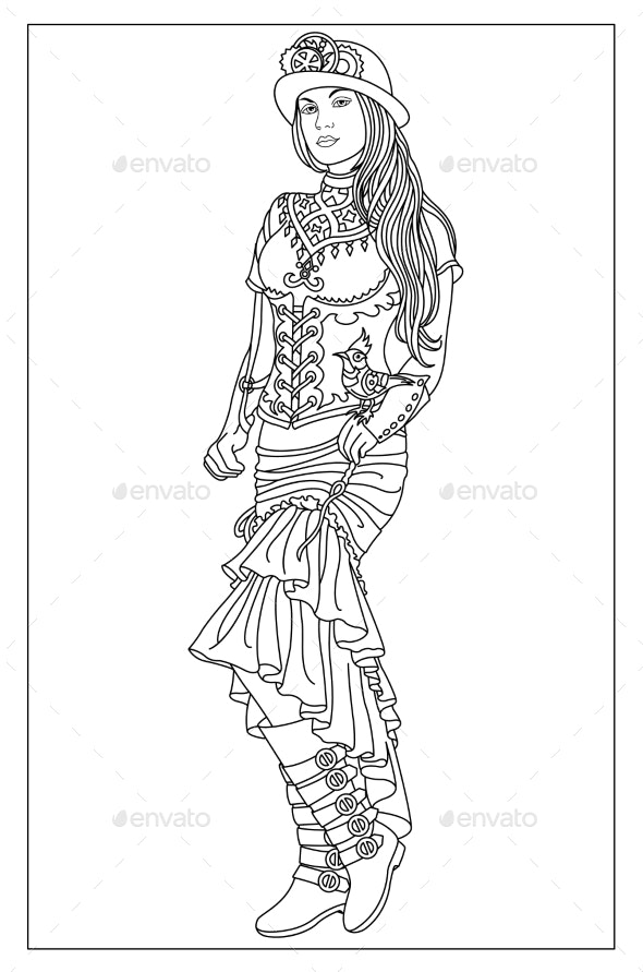Girl with a Steampunk Singing Bird - Miscellaneous Vectors