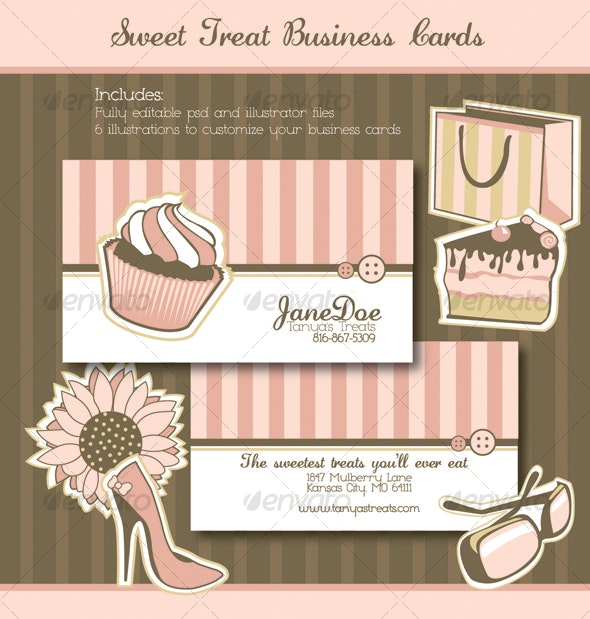 Sweet Treats Business Cards - Retro/Vintage Business Cards