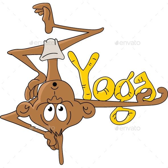 Cartoon Monkey Doing Yoga Vector Illustration - Sports/Activity Conceptual