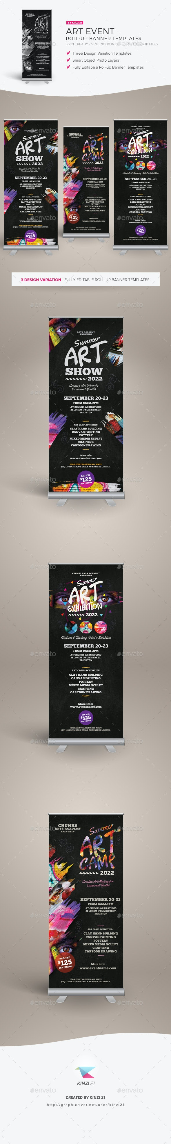 Art Event Roll-up Banner Templates - Signage Print Templates